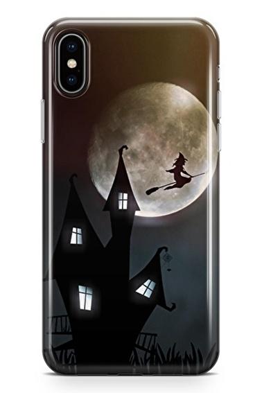 Lopard iPhone Xs Max Kılıf Silikon Arka Kapak Koruyucu Ay Cadı Desenli Full HD Baskılı Renkli